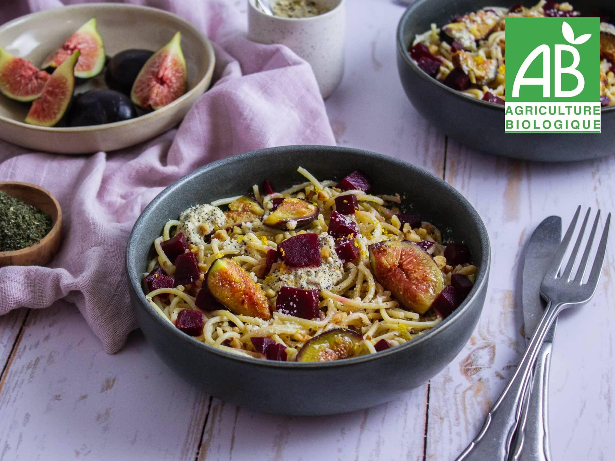 Recette 1 - Spaghettis à la sauge, betterave, figue et noix