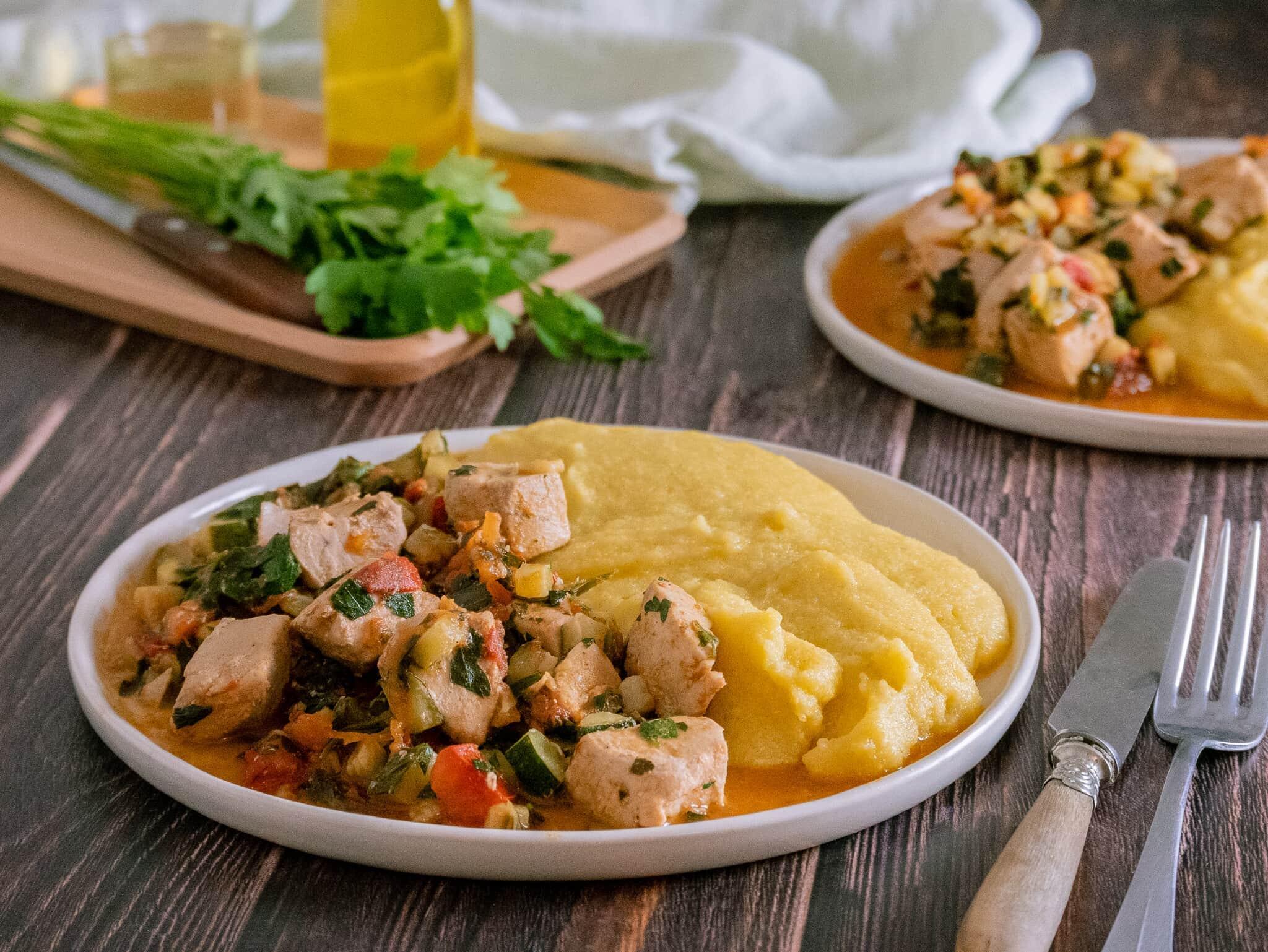 Recette 2 - Thon aux légumes mijotés et polenta